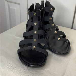 Black Stretchy Gladiator Sandals